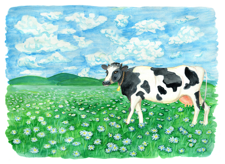 Cute cow on the field with flowers against sky with clouds. Vintage rural background with summer landscape, watercolor illustration with design graphic elements Stock Photo