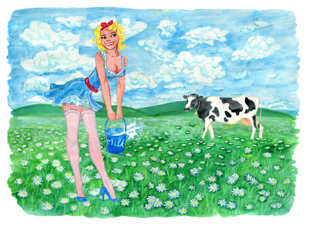 Pinup girl holding bucket of milk and cow on the grassland. Vintage rural background with summer landscape, watercolor illustration with design graphic elements Stock Photo
