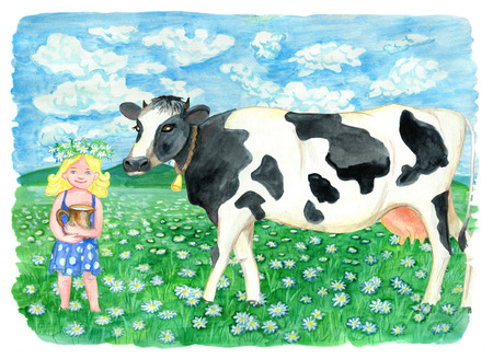 Cow on the field and beautiful blonde girl holding jar of milk. Vintage rural background with summer landscape, watercolor illustration with design graphic elements Stock Photo