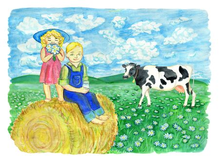 Brother and sister drinking milk and sitting on the haystack against the grassland with cow. Vintage rural background with summer landscape, watercolor illustration with design graphic elements