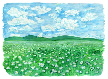 The field or grassland or pasture with daisy flowers and cloudy sky. Vintage rural background with summer landscape, watercolor illustration with design graphic elements Stock Photo