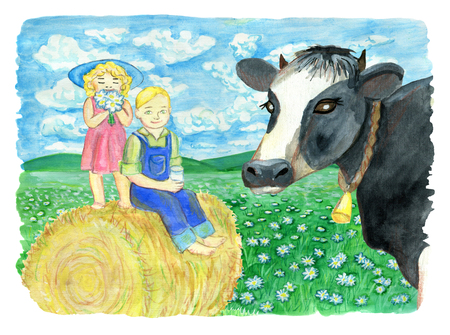 Siblings sitting on haystack and cow head against the grassland. Vintage rural background with summer landscape, watercolor illustration with design graphic elements