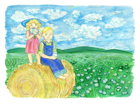 Cute siblings drinking milk and sitting on the haystack, with copy space. Vintage rural background with summer landscape, watercolor illustration with design graphic elements Stock Photo
