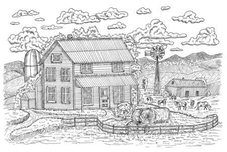 Black and white illustration of old farm or ranch with farmhouse, hay stacks and cows feeding on grassland. Vintage engraving, hand drawn design illustrations for label, poster. Rural farm concept