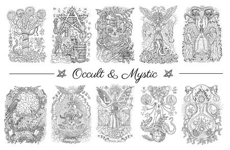 Sertie d'illustrations graphiques gravées. Dessin occulte et ésotérique, concept gothique, tatouage et wicca, arrière-plans d'Halloween Banque d'images - 85180248