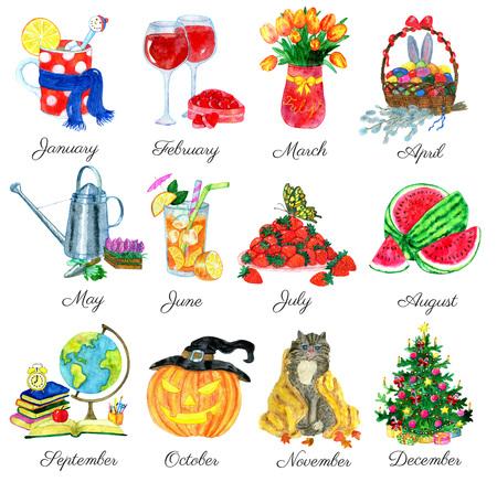白で隔離年の 12 ヶ月の水彩のシンボルのコレクション。孤立したデザイン要素と水彩イラスト。カレンダー ページのコンセプト手描きアイコン