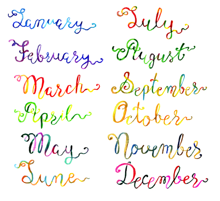 Set with hand drawn watercolor calligraphic lettering of 12 months isolated on white. Calendar concept with twelve months hand writing lettering Stock Photo