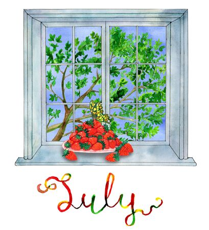 butterfly isolated: July month. Strawberry and butterfly against the window with green tree. Watercolor illustration with isolated design elements. Calendar concept with twelve months symbols and hand writing lettering Stock Photo