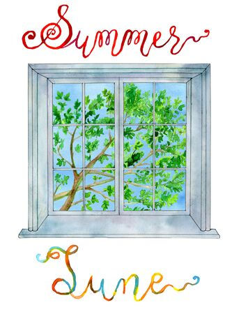 calendar design: June concept. Window and summer tree branch with leaves. Watercolor illustration, lettering of month and season for calendar design page Stock Photo