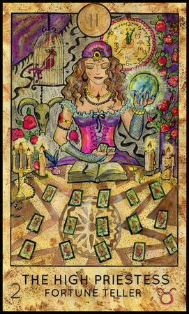 mythological character: High Priestess. Fortune Teller. Fantasy Creatures Tarot full deck. Major arcana. Hand drawn graphic illustration, engraved colorful painting with occult symbols