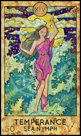 mythological character: Temperance. Sea Nymph. Fantasy Creatures Tarot full deck. Major arcana. Hand drawn graphic illustration, engraved colorful painting with occult symbols