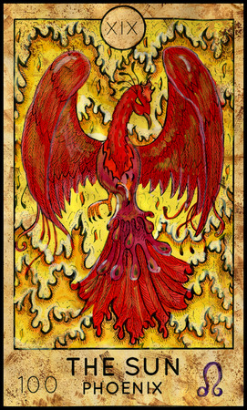 mythological character: Sun. Phoenix. Fantasy Creatures Tarot full deck. Major arcana. Hand drawn graphic illustration, engraved colorful painting with occult symbols