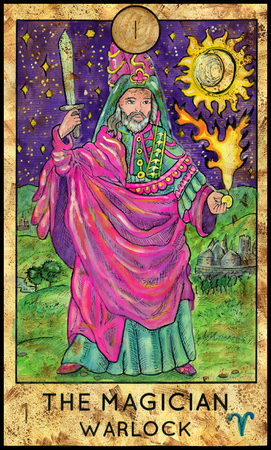 mythological character: Magician. Warlock. Fantasy Creatures Tarot full deck. Major arcana. Hand drawn graphic illustration, engraved colorful painting with occult symbols