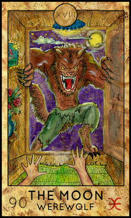 mythological character: Moon. Werewolf. Fantasy Creatures Tarot full deck. Major arcana. Hand drawn graphic illustration, engraved colorful painting with occult symbols Stock Photo