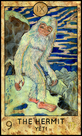 Hermit. Yeti or Bigfoot. Fantasy Creatures Tarot full deck. Major arcana. Hand drawn graphic illustration, engraved colorful painting with occult symbols Archivio Fotografico