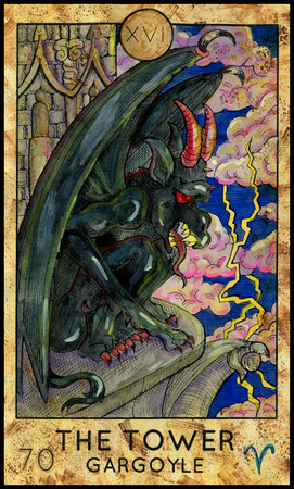 Tower. Gargoyle. Gothic monster. Fantasy Creatures Tarot full deck. Major arcana. Hand drawn graphic illustration, engraved colorful painting with occult symbols