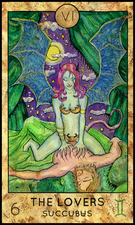 mythological character: Lovers. Succubus. Fantasy Creatures Tarot full deck. Major arcana. Hand drawn graphic illustration, engraved colorful painting with occult symbols