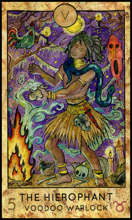 mythological character: Hierophant. Voodoo warlock. Fantasy Creatures Tarot full deck. Major arcana. Hand drawn graphic illustration, engraved colorful painting with occult symbols