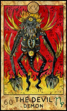 mythological character: Devil. Demon of horror. Fantasy Creatures Tarot full deck. Major arcana. Hand drawn graphic illustration, engraved colorful painting with occult symbols