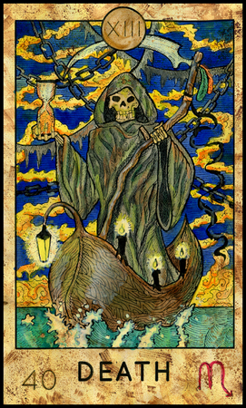 mythological character: Death. Grim Reaper. Fantasy Creatures Tarot full deck. Major arcana. Hand drawn graphic illustration, engraved colorful painting with occult symbols