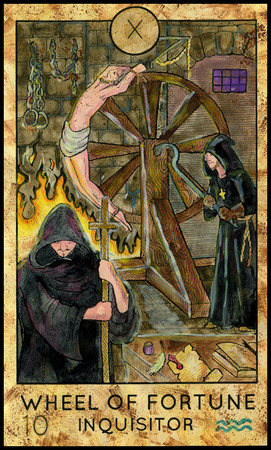 mythological character: Wheel of Fortune. Inquisitor. Fantasy Creatures Tarot full deck. Major arcana. Hand drawn graphic illustration, engraved colorful painting with occult symbols