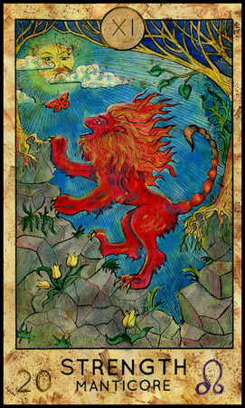 mythological character: Strength. Manticore. Red beast. Fantasy Creatures Tarot full deck. Major arcana. Hand drawn graphic illustration, engraved colorful painting with occult symbols