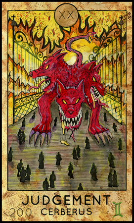mythological character: Judgement. Cerberus. Demon, mythological creature. Fantasy Creatures Tarot full deck. Major arcana. Hand drawn graphic illustration, engraved colorful painting with occult symbols