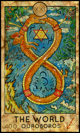 mythological character: World. Ouroboros. Fantasy Creatures Tarot full deck. Major arcana. Hand drawn graphic illustration, engraved colorful painting with occult symbols