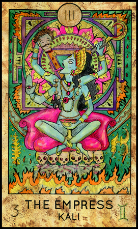 Empress. Kali Hindu Goddess. Fantasy Creatures Tarot full deck. Major arcana. Hand drawn graphic illustration, engraved colorful painting with occult symbols Banque d'images
