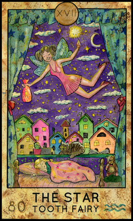 mythological character: Star. Tooth fairy. Fantasy Creatures Tarot full deck. Major arcana. Hand drawn graphic illustration, engraved colorful painting with occult symbols Stock Photo
