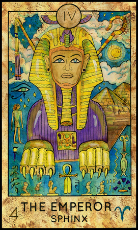 Emperor. Sphinx. Fantasy Creatures Tarot full deck. Major arcana. Hand drawn graphic illustration, engraved colorful painting with occult symbols Stock Photo