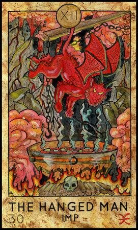 mythological character: Hanged Man. Imp in hell. Fantasy Creatures Tarot full deck. Major arcana. Hand drawn graphic illustration, engraved colorful painting with occult symbols Stock Photo