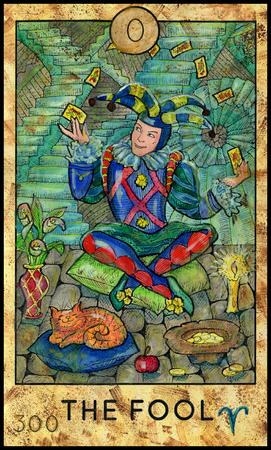 바보. 조커. 판타지 크리처 타로 풀 데크. 주요한 아르카나. 오컬트 기호로 손으로 그린 그래픽 그림, 새겨진 화려한 그림