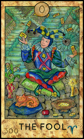 Fool. Joker. Fantasy Creatures Tarot full deck. Major arcana. Hand drawn graphic illustration, engraved colorful painting with occult symbols Reklamní fotografie - 86570856