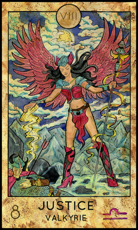 Justice. Valkyrie. Fantasy Creatures Tarot full deck. Major arcana. Hand drawn graphic illustration, engraved colorful painting with occult symbols