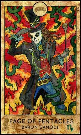 mythological character: Baron Samedi. Page of pentacles. Fantasy Creatures Tarot full deck. Minor arcana. Hand drawn graphic illustration, engraved colorful painting with occult symbols. Halloween background