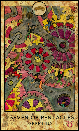 Gremlins. Seven of pentacles. Fantasy Creatures Tarot full deck. Minor arcana. Hand drawn graphic illustration, engraved colorful painting with occult symbols