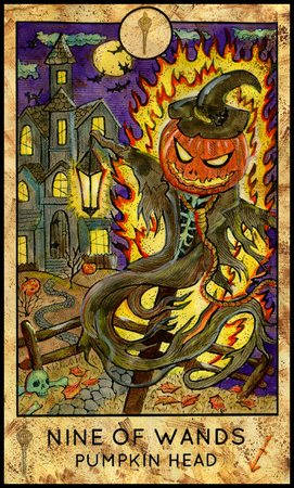 mythological character: Pumpkin Head. Nine of wands. Fantasy Creatures Tarot full deck. Minor arcana. Hand drawn graphic illustration, engraved colorful painting with occult symbols. Halloween background