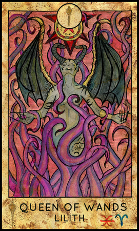 mythological character: Lilith vampire. Queen of wands. Fantasy Creatures Tarot full deck. Minor arcana. Hand drawn graphic illustration, engraved colorful painting with occult symbols. Halloween background