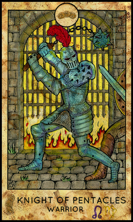 Warrior. Knight of pentacles. Fantasy Creatures Tarot full deck. Minor arcana. Hand drawn graphic illustration, engraved colorful painting with occult symbols