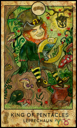 mythological character: Leprechaun. King of pentacles. Fantasy Creatures Tarot full deck. Minor arcana. Hand drawn graphic illustration, colorful painting with occult symbols. Halloween background