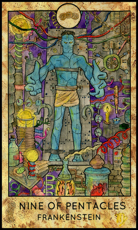 mythological character: Frankenstein. Laboratory monster. Nine of pentacles. Fantasy Creatures Tarot full deck. Minor arcana. Hand drawn graphic illustration, colorful painting with occult symbols. Halloween background
