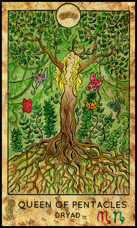 mythological character: Dryad. Queen of pentacles. Fantasy Creatures Tarot full deck. Minor arcana. Hand drawn graphic illustration, engraved colorful painting with occult symbols