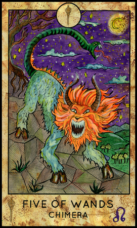 mythological character: Chimera monster. Five of wands. Fantasy Creatures Tarot full deck. Minor arcana. Hand drawn graphic illustration, engraved colorful painting with occult symbols. Halloween background Stock Photo