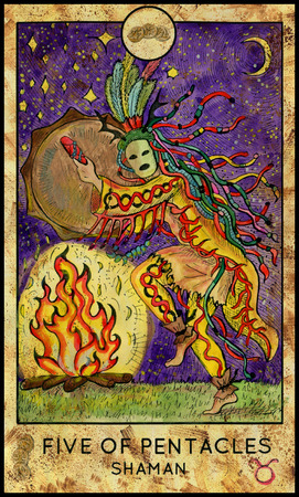 mythological character: Shaman. Five of pentacles. Fantasy Creatures Tarot full deck. Minor arcana. Hand drawn graphic illustration, engraved colorful painting with occult symbols