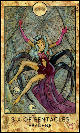 mythological character: Arachne. Six of pentacles. Fantasy Creatures Tarot full deck. Minor arcana. Hand drawn graphic illustration, engraved colorful painting with occult symbols. Halloween background