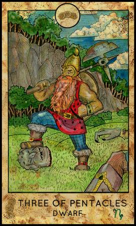 ドワーフ。3 つの金貨。ファンタジーの生き物タロット完全なデッキ。小アルカナ。手図を描かれた、カラフルな色絵の神秘的なシンボルを刻印 写真素材
