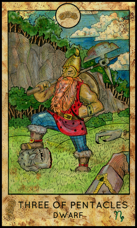 Dwarf. Three of pentacles. Fantasy Creatures Tarot full deck. Minor arcana. Hand drawn graphic illustration, engraved colorful painting with occult symbols