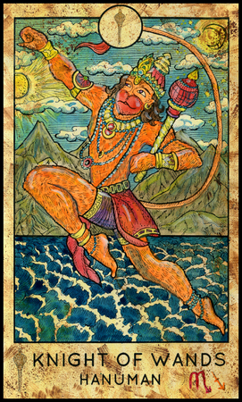 mythological character: Hanuman. Hindu monkey god. Knight of wands. Fantasy Creatures Tarot full deck. Minor arcana. Hand drawn graphic illustration, engraved colorful painting with occult symbols Stock Photo