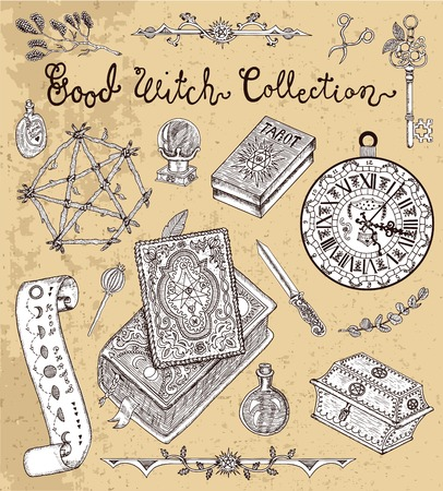 Magic objects for Halloween - pentagram, evil book, tarot cards, crystal ball, herbs, etc. Graphic vector engraved illustration with design elements for poster, invitation, banner Çizim